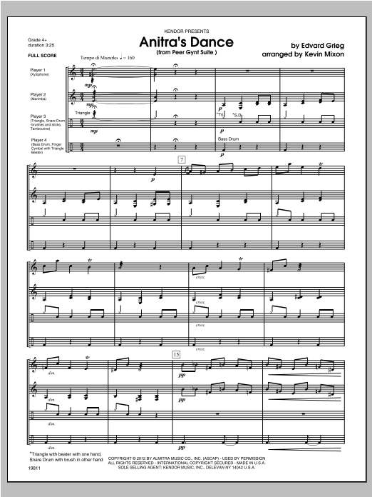 Anitra's Dance (from Peer Gynt Suite) (COMPLETE) sheet music for percussions by Edward Grieg and Mixon. Score Image Preview.