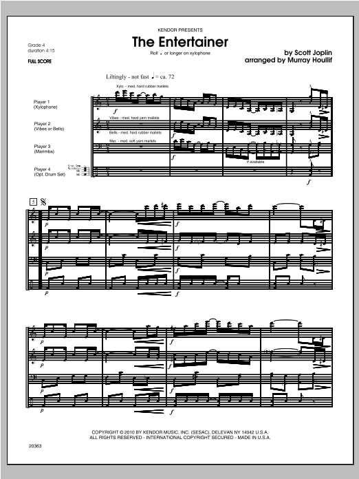 Entertainer, The - Full Score Sheet Music