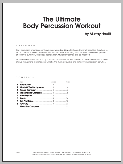 The Ultimate Body Percussion Workout (COMPLETE) sheet music for percussions by Houllif. Score Image Preview.