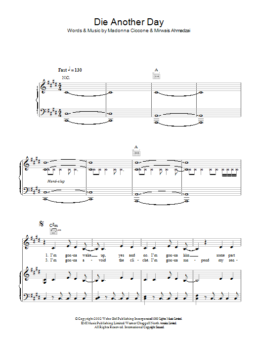 Die Another Day (from James Bond: Die Another Day) by Madonna Piano, Vocal  & Guitar (Right-Hand Melody) Digital Sheet Music