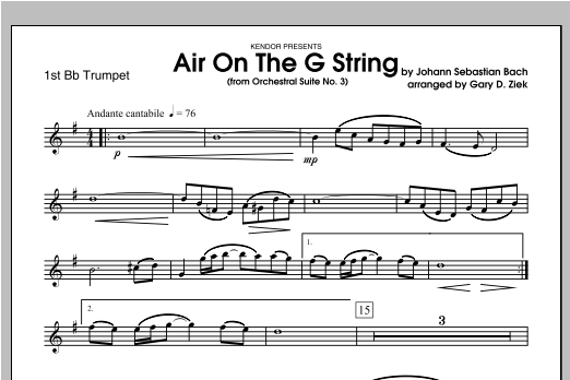 Air On The G String (from Orchestral Suite No. 3) - Trumpet 1 Sheet Music