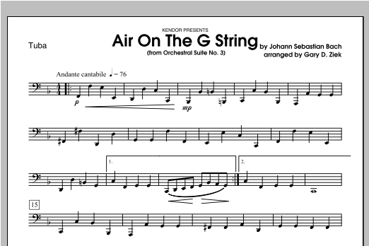 Air On The G String (from Orchestral Suite No. 3) - Tuba 1 Digitale Noten