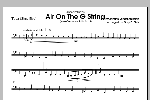Air On The G String (from Orchestral Suite No. 3) - Tuba 2 Sheet Music