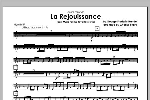 La Rejouissance (from Music For The Royal Fireworks) - Horn Sheet Music