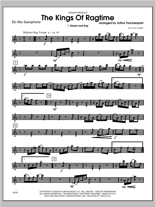 Kings Of Ragtime, The - Alto Sax Partition Digitale