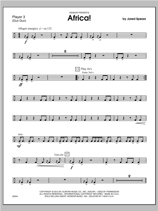 Africa! - Percussion 3 Sheet Music