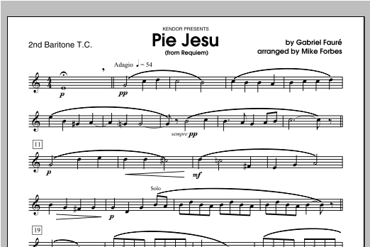 Pie Jesu (from Requiem) - Baritone 2 Sheet Music