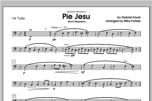 Pie Jesu (from Requiem) - Tuba 1 Sheet Music