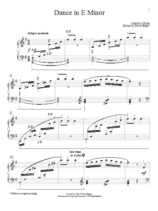 Dance In E Minor Sheet Music