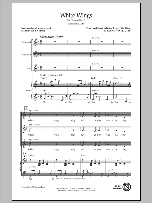 White Wings (arr. Audrey Snyder) Sheet Music