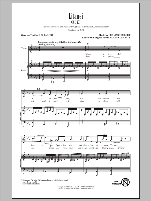 Litanei (arr. John Leavitt) Sheet Music