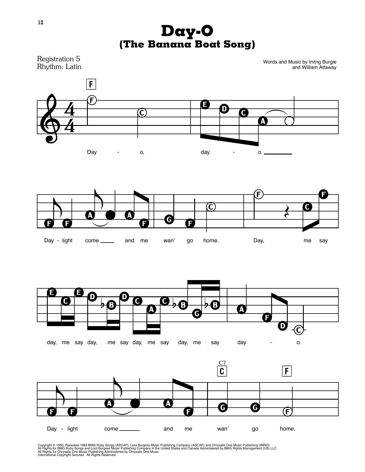 Day-O (The Banana Boat Song) Sheet Music