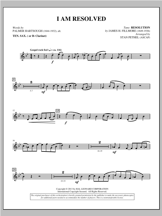 I Am Resolved - Tenor Sax/Clarinet (Choir Instrumental Pak)