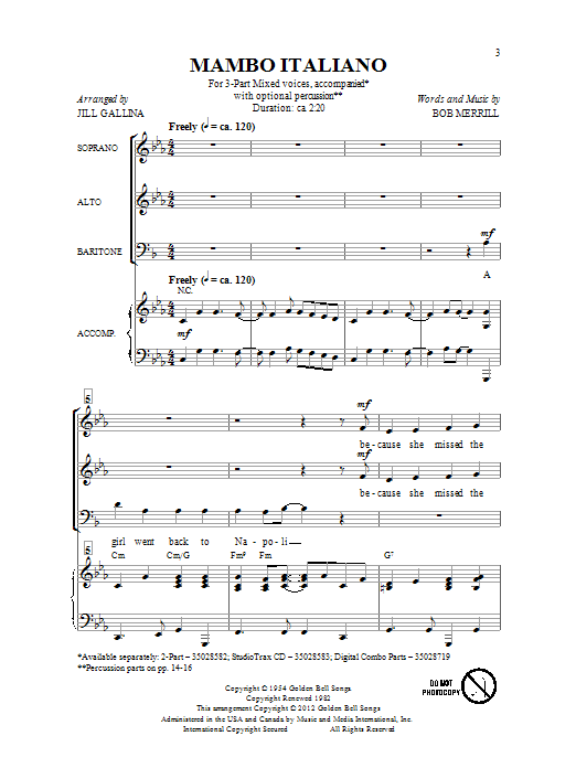 Mambo Italiano (arr. Jill Gallina) Sheet Music