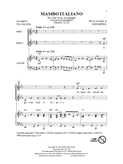 Mambo Italiano (arr. Jill Gallina) (2-Part Choir)