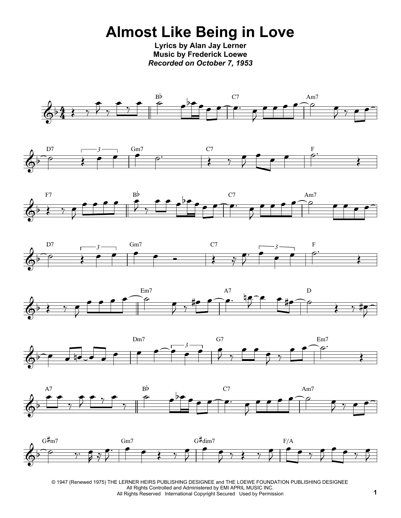 Almost Like Being In Love Sheet Music