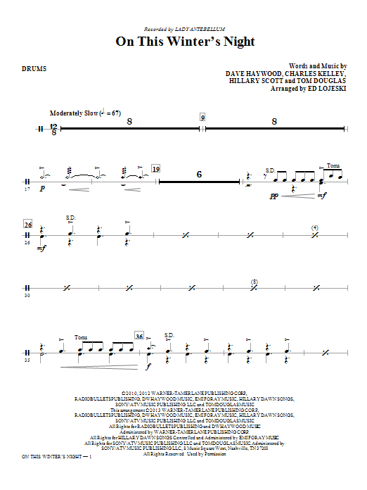 On This Winter's Night (arr. Ed Lojeski) - Drums (Choir Instrumental Pak)