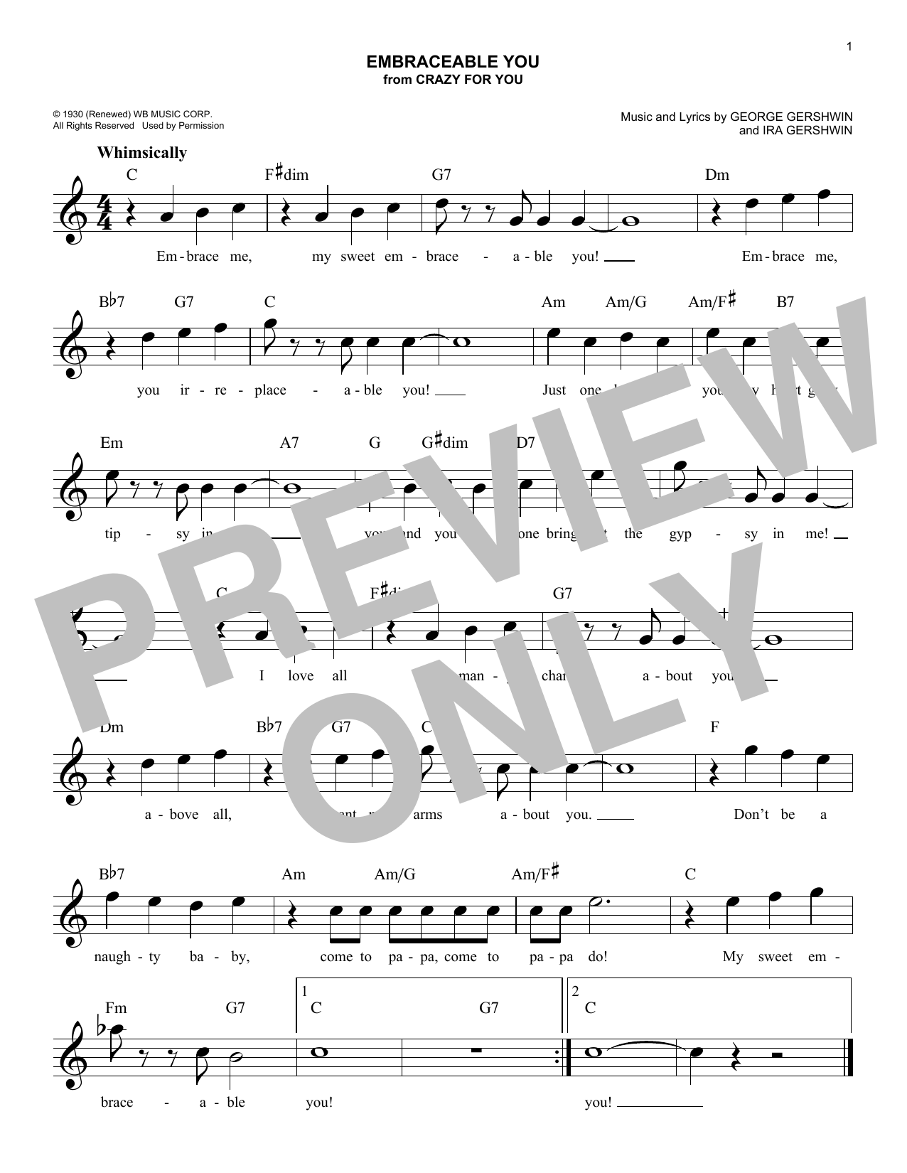 Embraceable You (Lead Sheet / Fake Book)