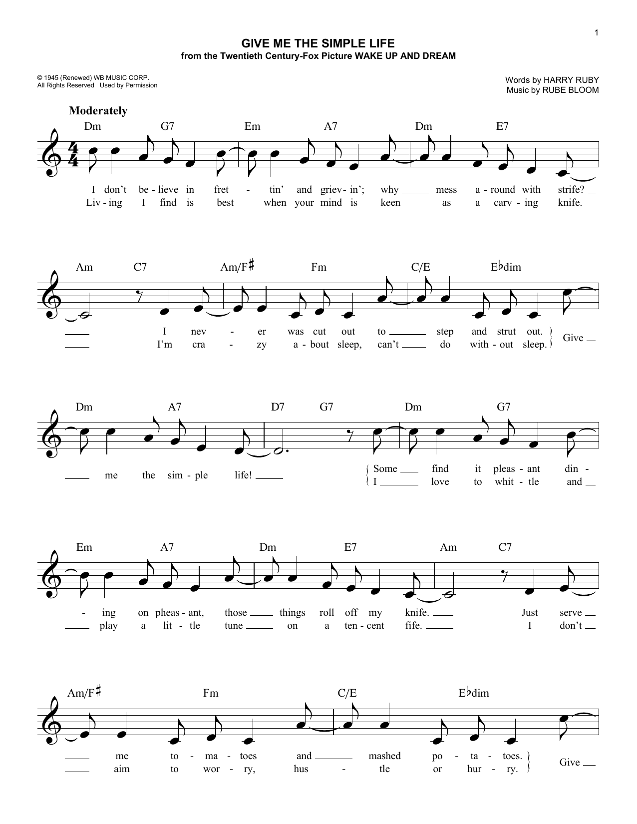 Give Me The Simple Life Sheet Music