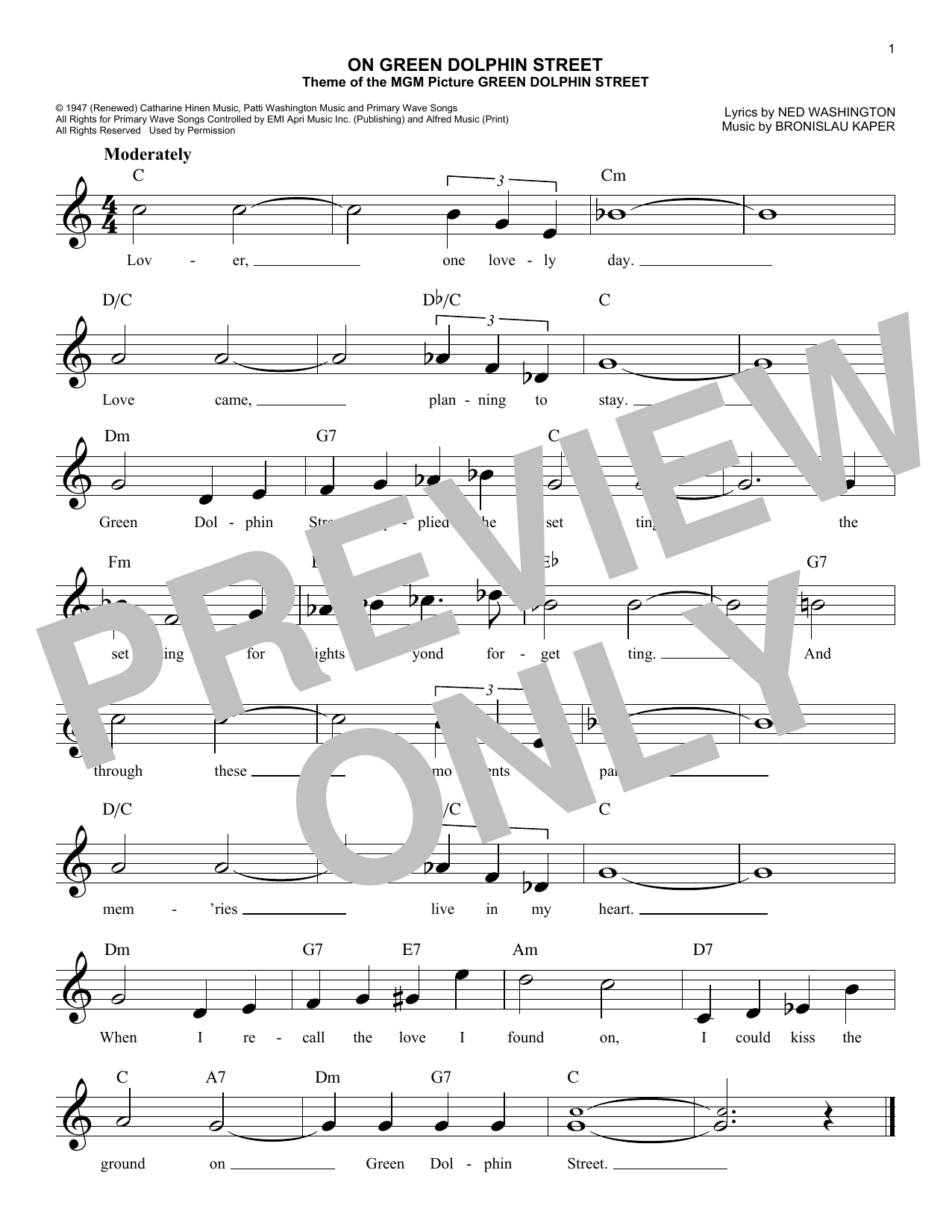 On Green Dolphin Street (Lead Sheet / Fake Book)