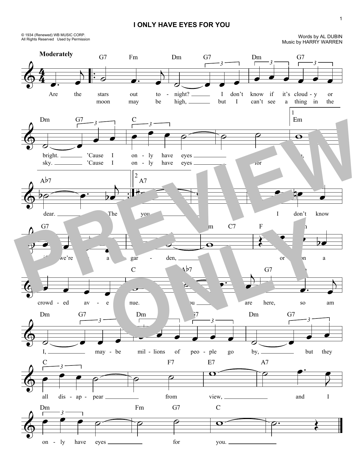 I Only Have Eyes For You (Lead Sheet / Fake Book)