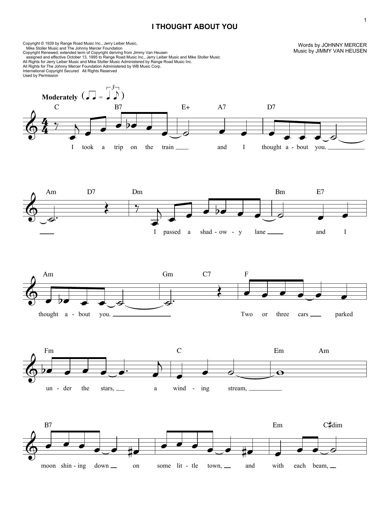 I Thought About You (Lead Sheet / Fake Book)
