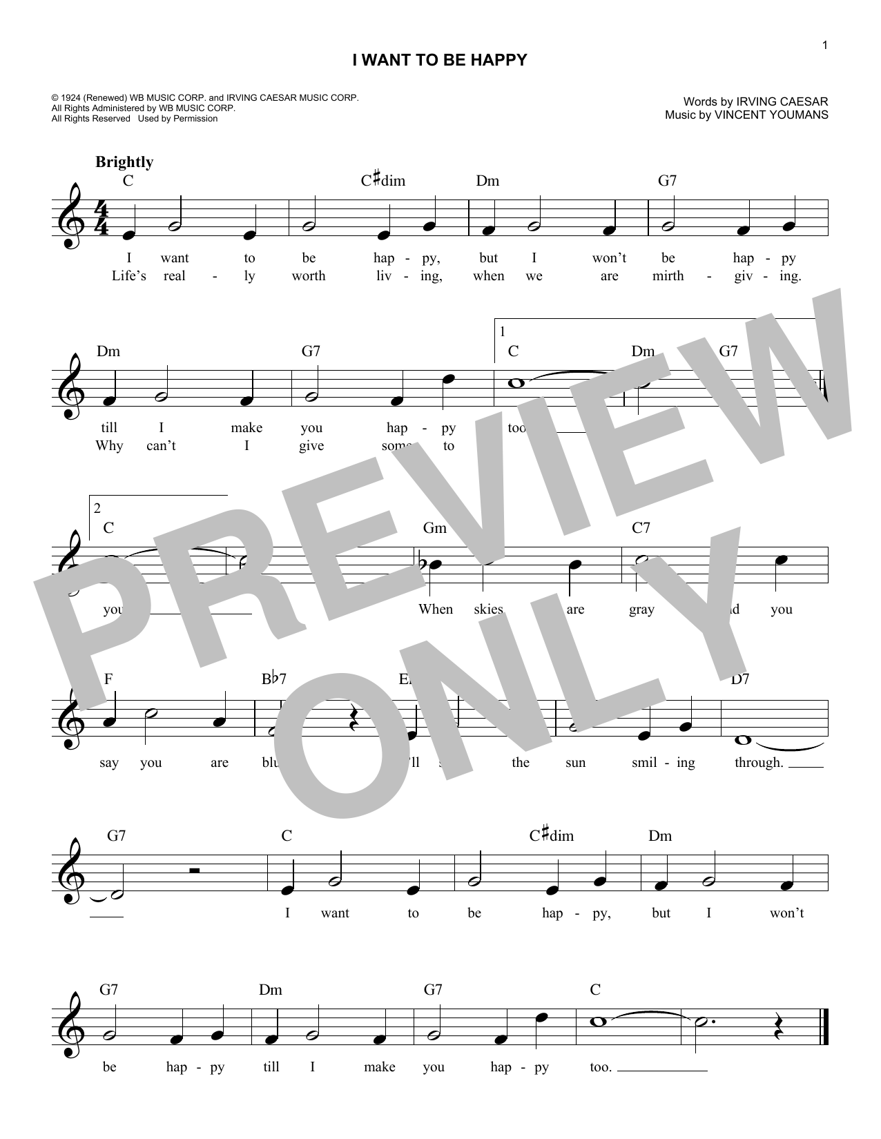 I Want To Be Happy (Lead Sheet / Fake Book)
