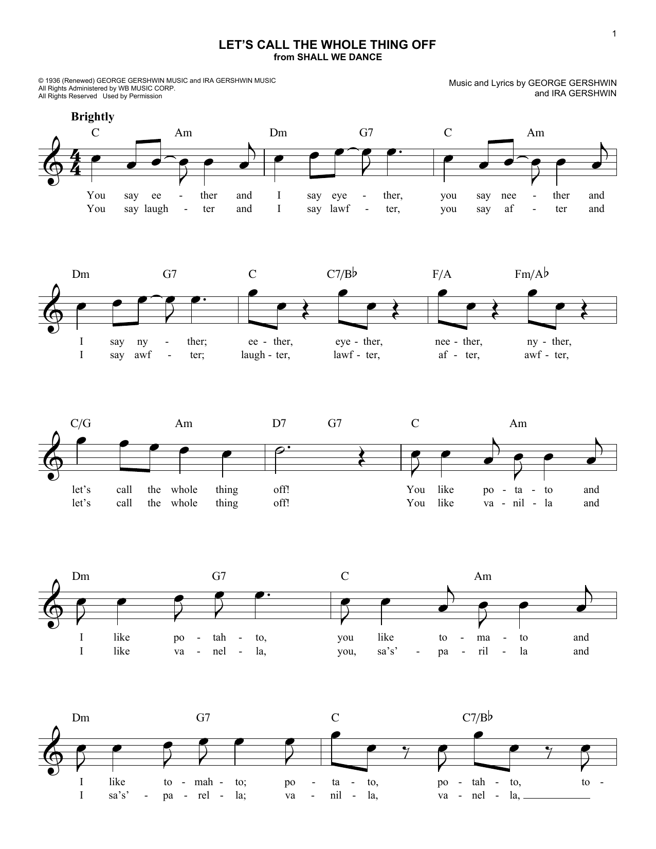 Let's Call The Whole Thing Off Sheet Music