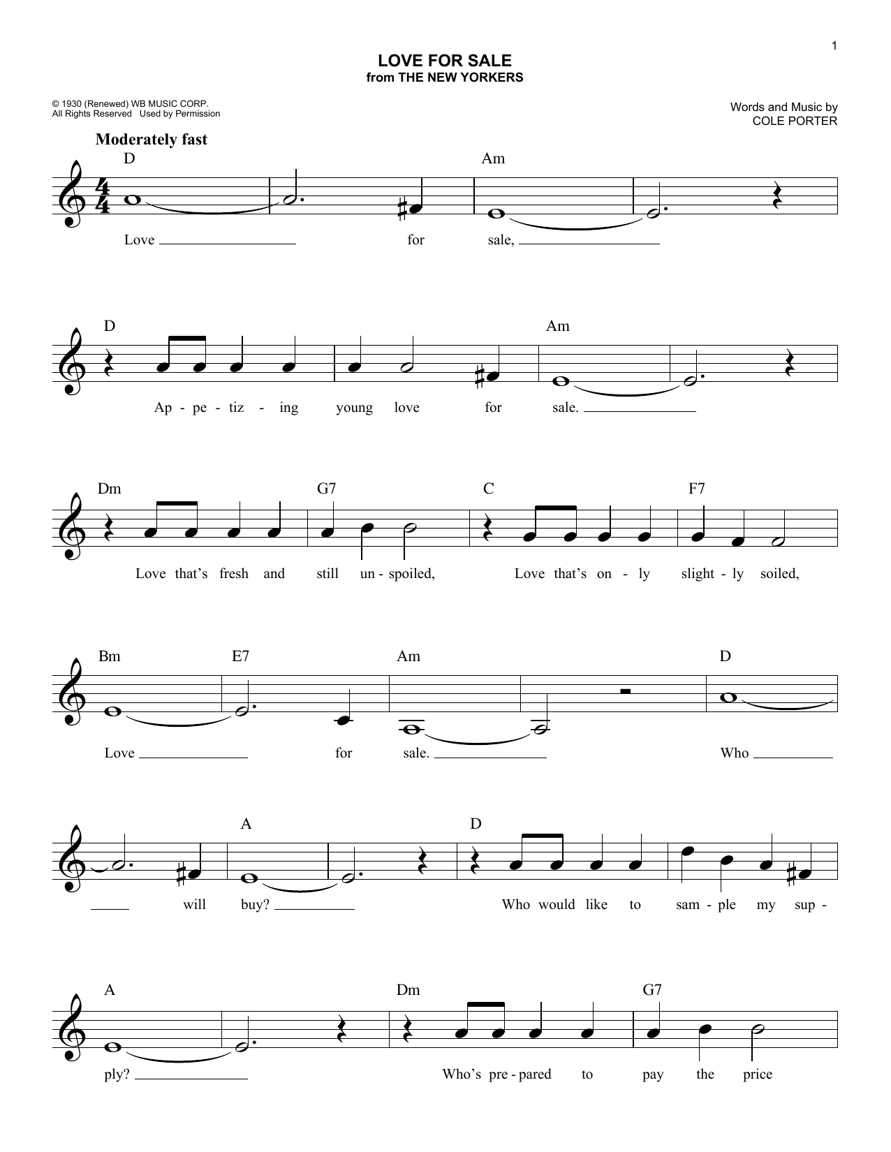 Love For Sale (Lead Sheet / Fake Book)