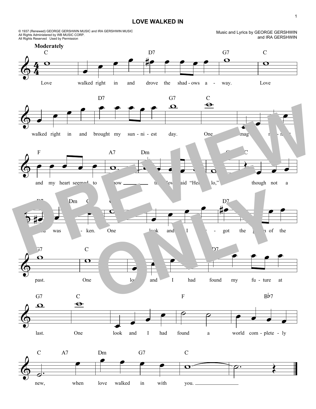 Love Walked In (Lead Sheet / Fake Book)