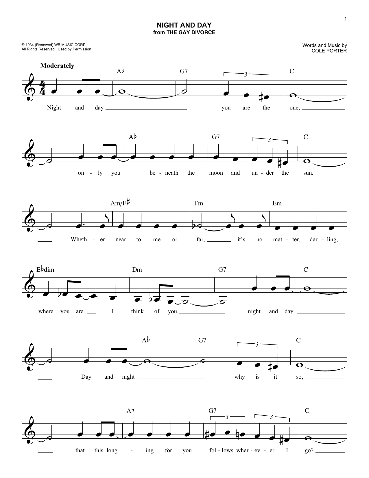Night And Day Cole Porter Melody Line Lyrics Chords
