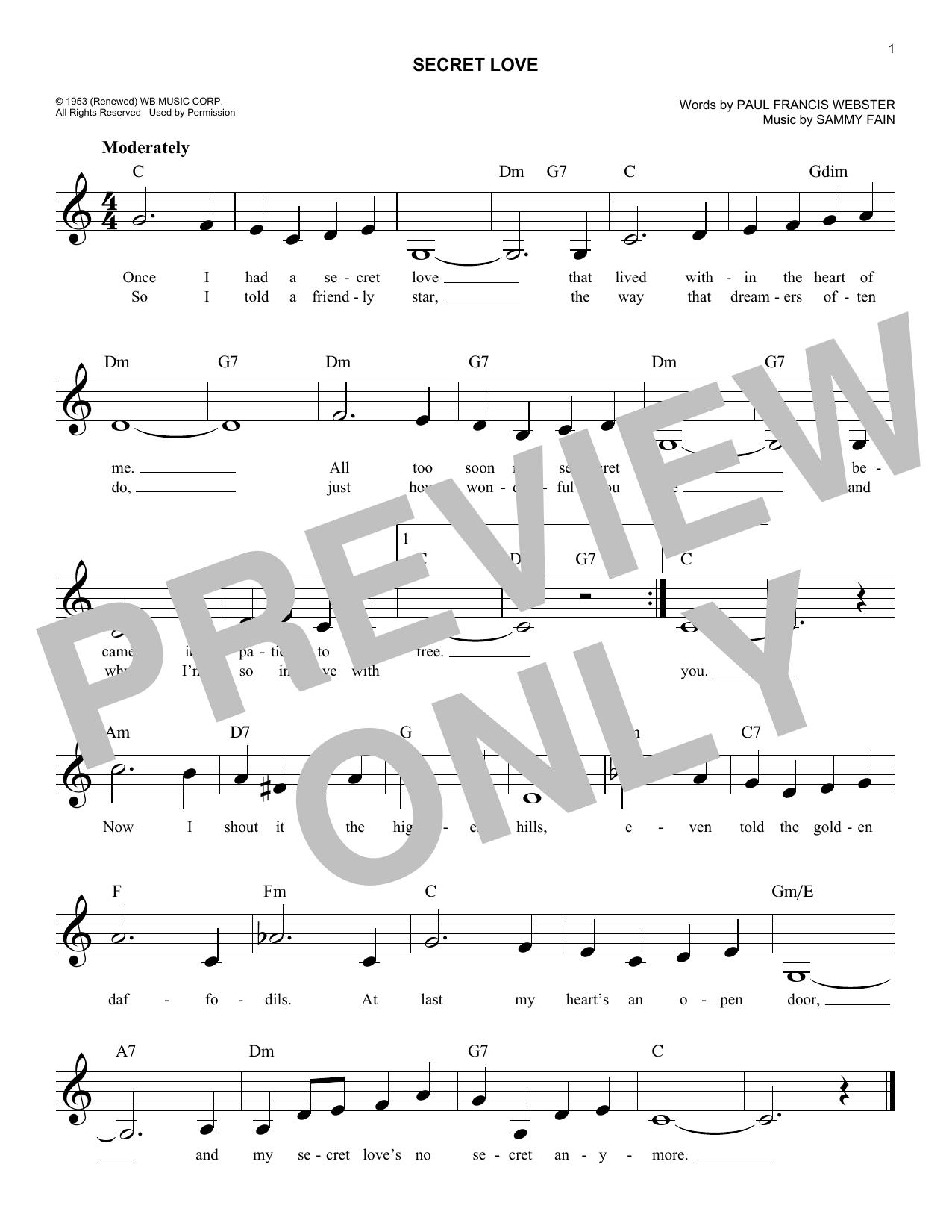 Secret Love Sheet Music