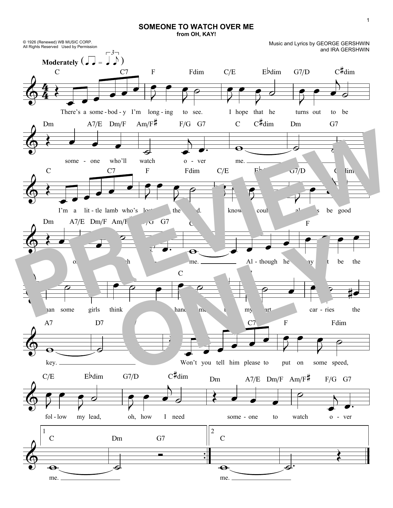 Someone To Watch Over Me (Lead Sheet / Fake Book)