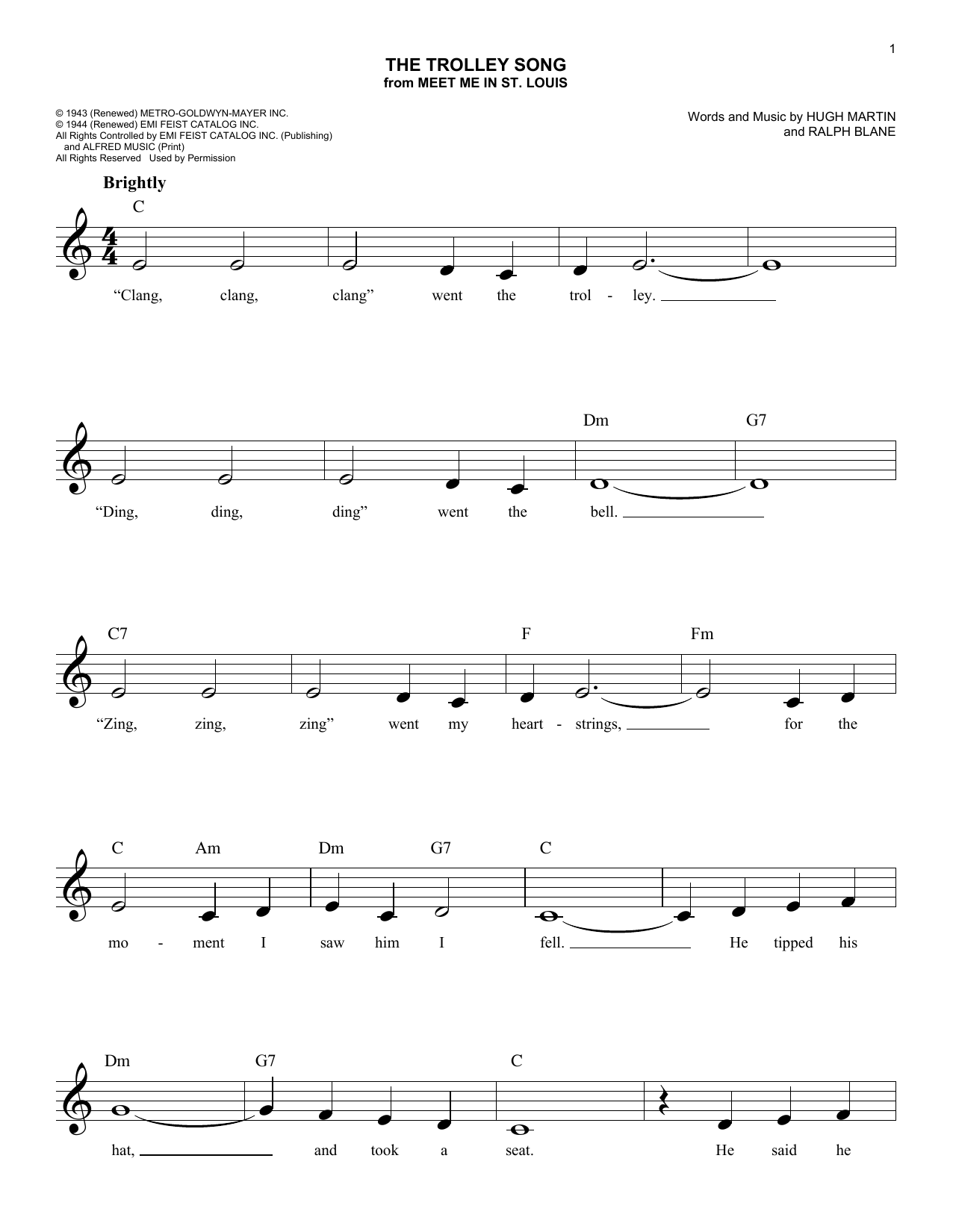 The Trolley Song Sheet Music
