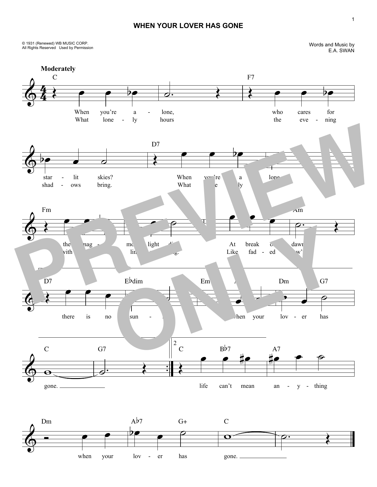 When Your Lover Has Gone by E A  Swan Piano, Vocal & Guitar (Right-Hand  Melody) Digital Sheet Music