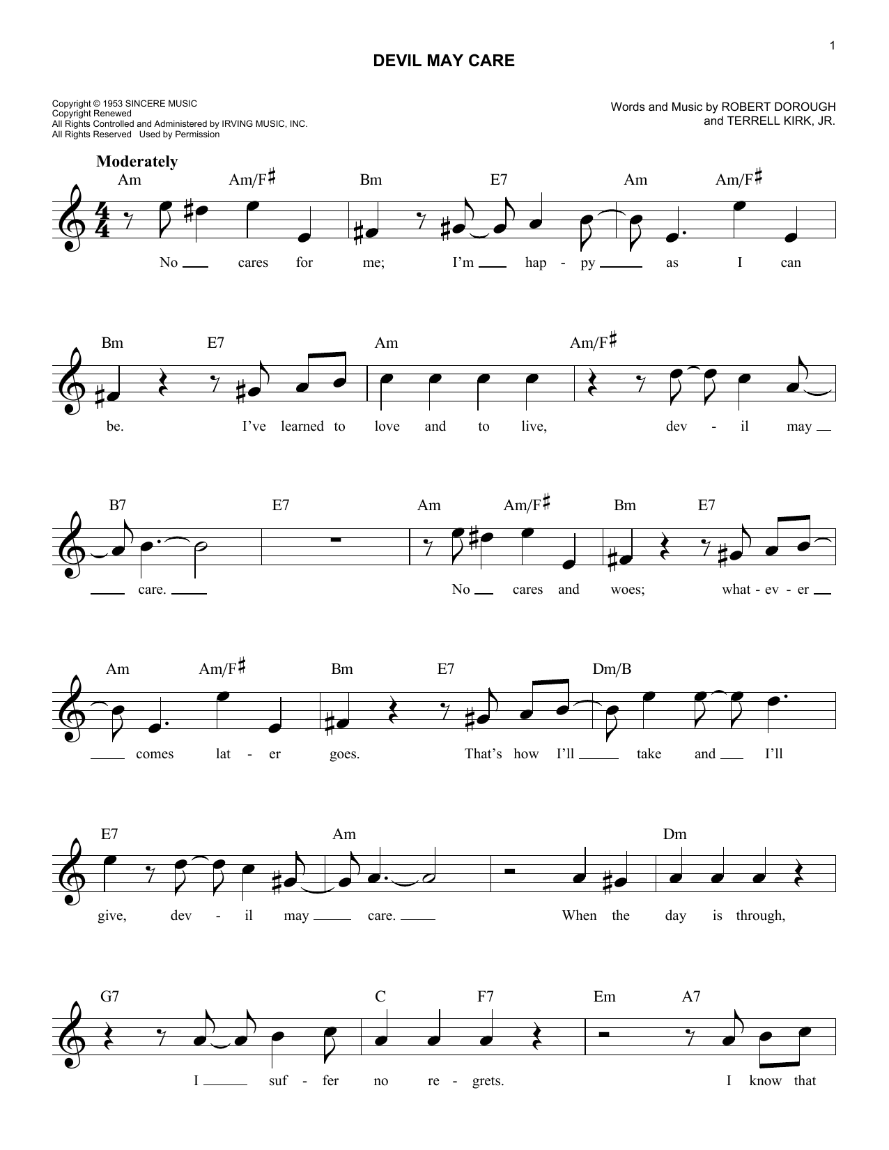 Devil May Care Sheet Music