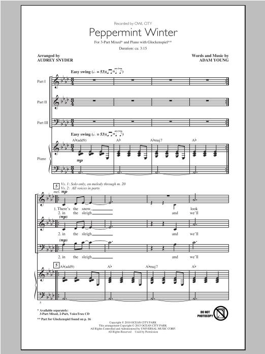 Peppermint Winter (arr. Audrey Snyder) (3-Part Mixed Choir)