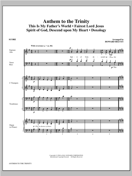 Anthem to the Trinity (COMPLETE) sheet music for orchestra/band (Brass) by Howard Helvey. Score Image Preview.