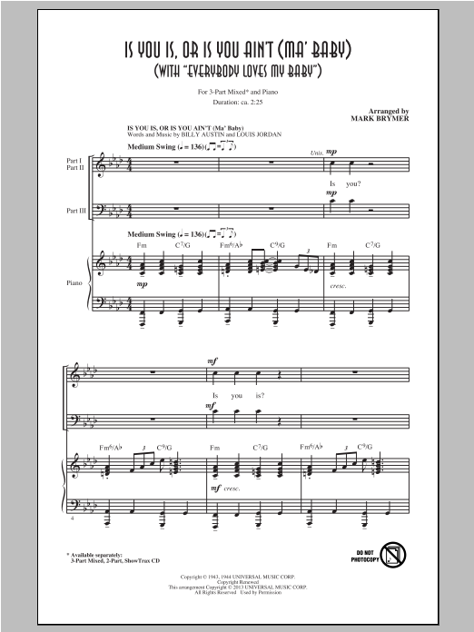 Is You Is, Or Is You Ain't (Ma' Baby) (arr. Mark Brymer) (3-Part Mixed Choir)