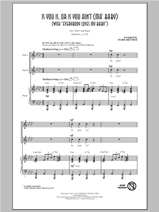 Is You Is, Or Is You Ain't (Ma' Baby) (arr. Mark Brymer) Sheet Music