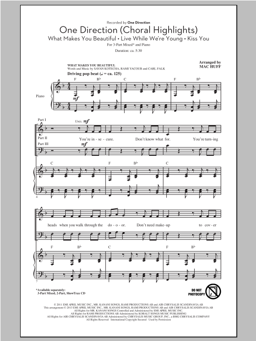 One Direction (Choral Highlights) Sheet Music