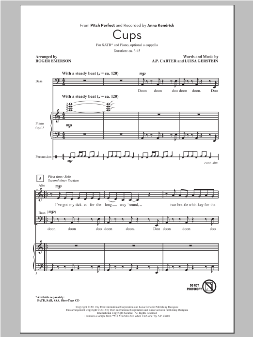 Partition chorale Cups de Roger Emerson - SATB