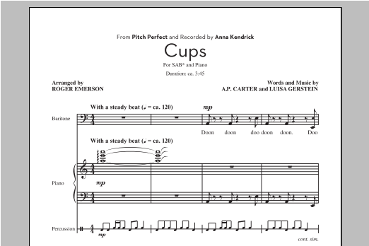 Partition chorale Cups de Roger Emerson - SAB