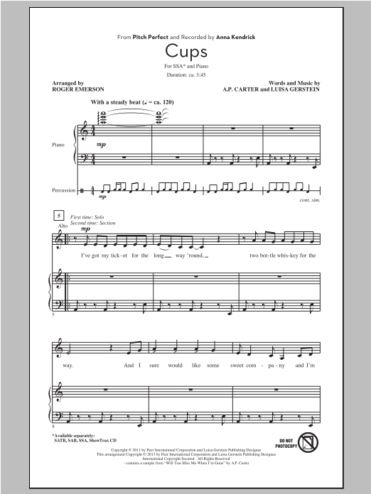 Cups (from Pitch Perfect) (arr. Roger Emerson) Sheet Music