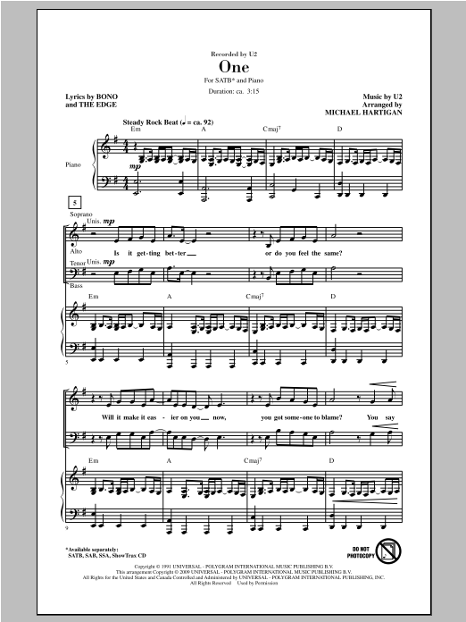 Partition chorale One de U2 - SATB