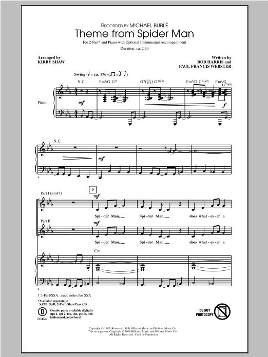 Theme From Spider-Man (arr. Kirby Shaw) (2-Part Choir)