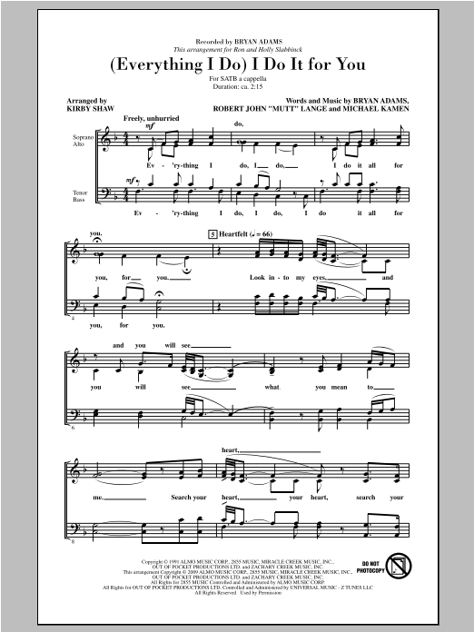 (Everything I Do) I Do It For You (arr. Kirby Shaw) Sheet Music