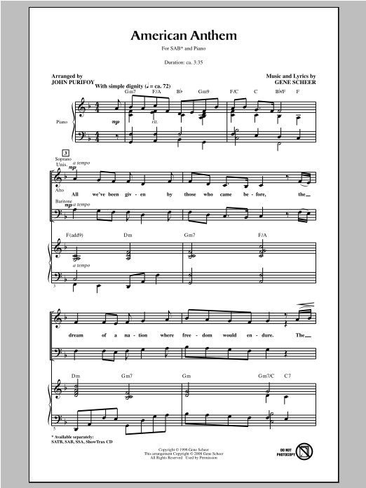 American Anthem (arr. John Purifoy) Sheet Music