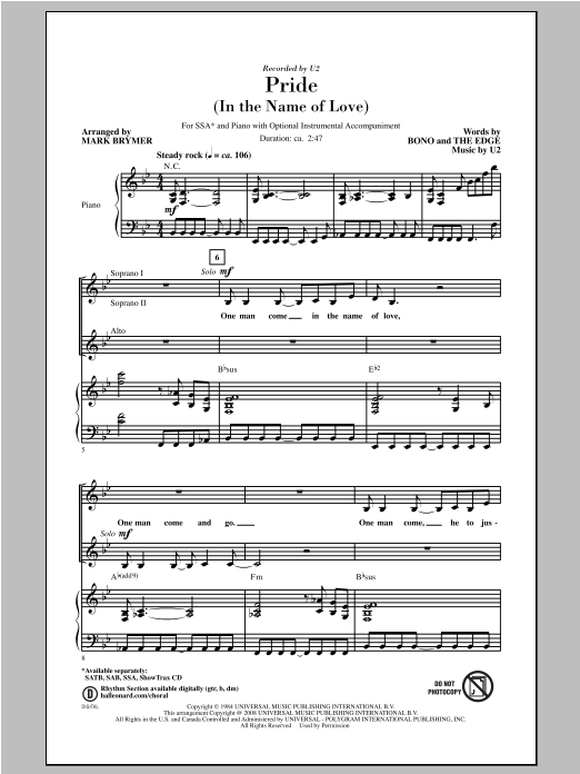 Pride (In The Name Of Love) (arr. Mark Brymer) Sheet Music
