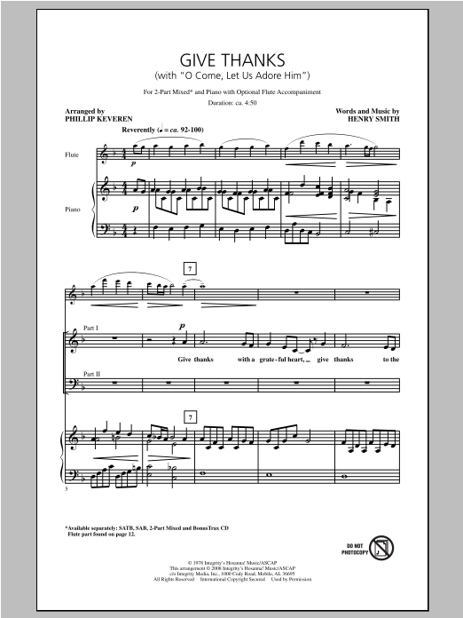 Give Thanks (with O Come Let Us Adore Him) Sheet Music